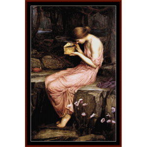 psyche opening golden box - waterhouse cross stitch pattern by cross stitch collectibles
