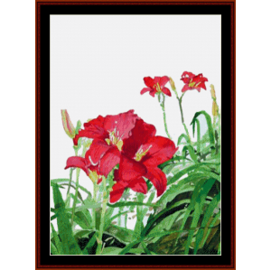 Red Day Lilies - Floral cross stitch pattern by Cross Stitch Collectibles | Crafting | Cross-Stitch | Wall Hangings