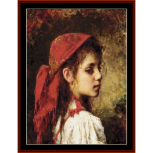 girl with red kerchief - harlamoff cross stitch pattern by cross stitch collectibles