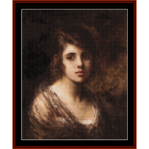 young brunette - harlamoff cross stitch pattern by cross stitch collectibles