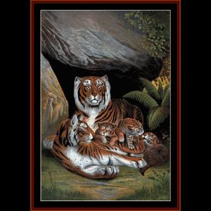 tiger den - wildlife cross stitch pattern by cross stitch collectibles