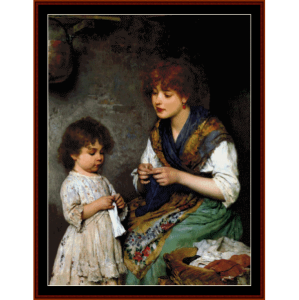 the knitting lesson - de blass cross stitch pattern by cross stitch collectibles
