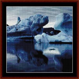 iceberg reflections - scenic cross stitch pattern by cross stitch collectibles