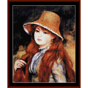 girl in golden hat - renoir cross stitch pattern by cross stitch collectibles