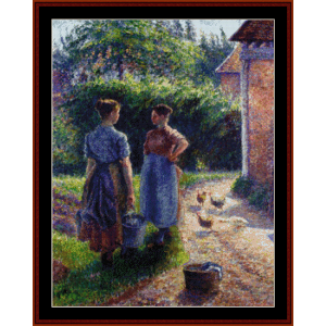 peasants chatting - pissarro cross stitch pattern by cross stitch collectibles