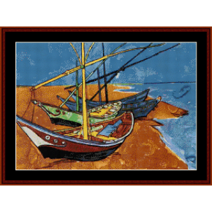 fishing boats - van gogh cross stitch pattern by cross stitch collectibles