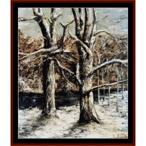 woods in snow - courbet cross stitch pattern by cross stitch collectibles