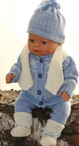 dollknittingpatterns - 0107d paal - suit, pants, blouse, cap and socks