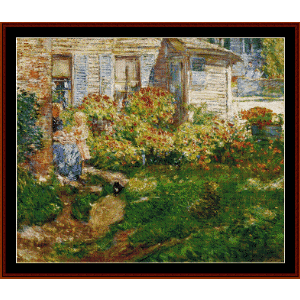 a fisherman's cottage - hassam cross stitch pattern by cross stitch collectibles