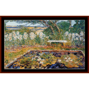 long island garden - hassam cross stitch pattern by cross stitch collectibles