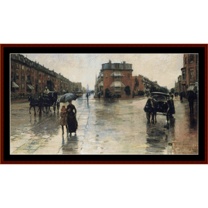 rainy day in boston - hassam cross stitch pattern by cross stitch collectibles