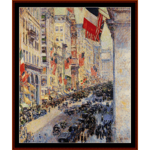 up the avenue from 34th st. - hassam cross stitch pattern by cross stitch collectibles