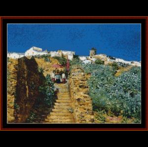 spanish steps - hassam cross stitch pattern by cross stitch collectibles
