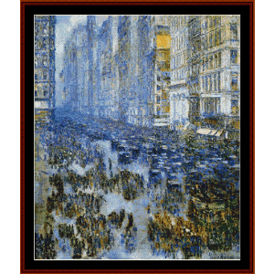 fifth avenue in winter - hassam cross stitch pattern by cross stitch collectibles