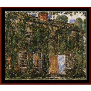 cottage, east hampton - hassam cross stitch pattern by cross stitch collectibles