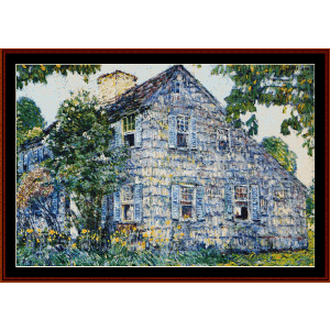 old house, east hampton - hassam cross stitch pattern by cross stitch collectibles
