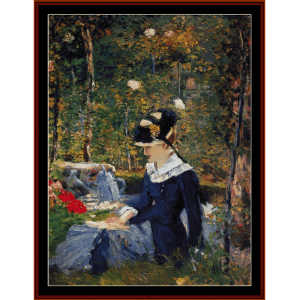 young woman in the garden - manet cross stitch pattern by cross stitch collectibles