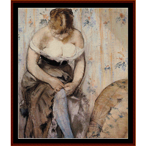 woman fastening her garter - manet cross stitch pattern by cross stitch collectibles