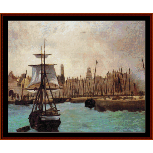 port of bordeaux, 1871 - manet cross stitch pattern by cross stitch collectibles