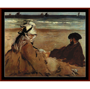 on the beach, 1873 - manet cross stitch pattern by cross stitch collectibles