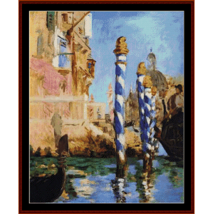 grand canal, 1875 - manet cross stitch pattern by cross stitch collectibles
