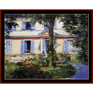 house at rueil, 1882 - manet cross stitch pattern by cross stitch collectibles