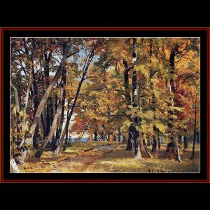 early autumn, 1889 - shishkin cross stitch pattern by cross stitch collectibles