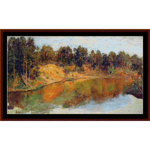 forest lake - shishkin cross stitch pattern by cross stitch collectibles