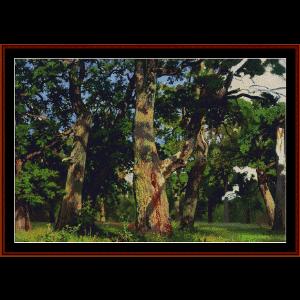oaks, evening 1887 - shishkin cross stitch pattern by cross stitch collectibles