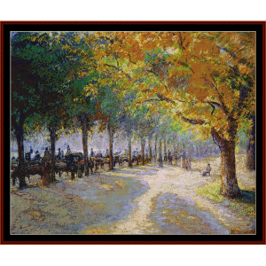 hyde park - london - pissarro cross stitch pattern by cross stitch collectibles
