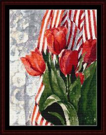 Stripes and Tulips - SuzyPal cross stitch pattern by Cross Stitch Collectibles | Crafting | Cross-Stitch | Wall Hangings