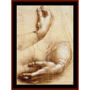 study of hands- davinci cross stitch pattern by cross stitch collectibles