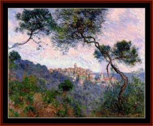 bordighera italy - monet cross stitch pattern by cross stitch collectibles