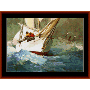 diamond shoal - winslow homer cross stitch pattern by cross stitch collectibles
