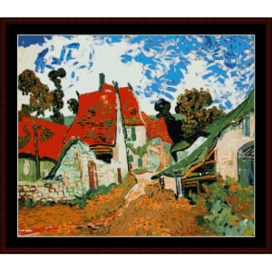 village street in auvers - van gogh cross stitch pattern by cross stitch collectibles
