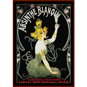 absinthe blanqui - vintage poster cross stitch pattern by cross stitch collectibles