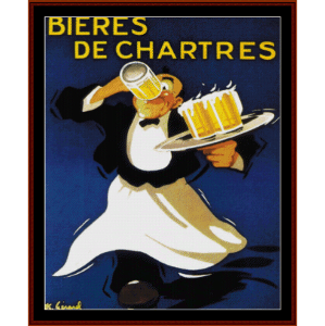 bieres de chartres - vintage poster cross stitch pattern by cross stitch collectibles