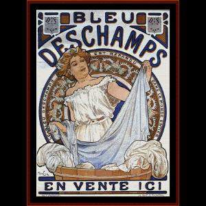bleu deschamps - vintage posters cross stitch pattern by cross stitch collectibles