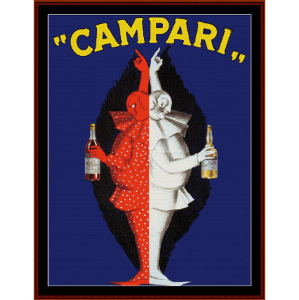 campari twins - vintage poster cross stitch pattern by cross stitch collectibles