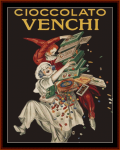 Cioccolto Venchi - Vintage Poster cross stitch pattern by Cross Stitch Collectibles | Crafting | Cross-Stitch | Wall Hangings