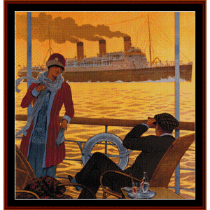on the steamship - vintage poster cross stitch pattern by cross stitch collectibles