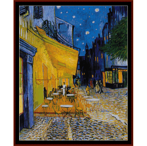cafe terrace postersize - van gogh cross stitch pattern by cross stitch collectibles