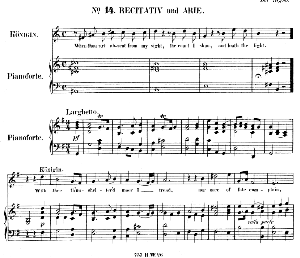 when thou art absent from my sight...with thee th'unshelter'd moor i tread .recitative and aria for soprano (queen of sheba). g.f.haendel: solomon, hwv 67. vocal score (g.gervinus), ed. peters, pd