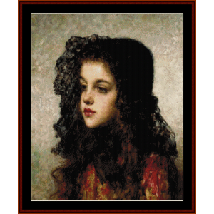 little girl with veil - harlamoff cross stitch pattern by cross stitch collectibles