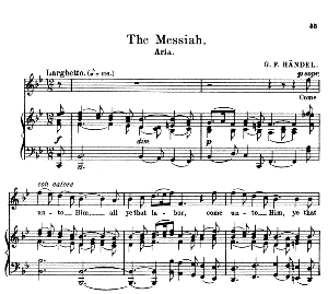 come unto him, all ye that labor. soprano aria: g.f.haendel: messiah, hwv 56,.vocal score. schirmer anthology of sacred song: soprano (m. spicker). ed. schirmer (pd)