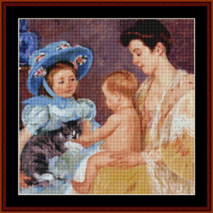 Child Playing with Cat - Cassatt cross stitch pattern by Cross Stitch Collectibles | Crafting | Cross-Stitch | Wall Hangings
