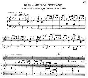rejoice greatly, o daughter of zion. aria for soprano. g.f.haendel: messiah, hwv 56. vocal score, ed. schirmer  (spicker-noble). 1912