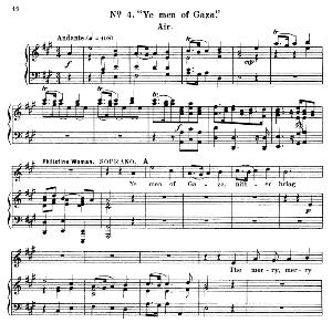 ye men of gaza. aria for soprano (philistine woman). g.f.haendel: samson, hwv 57. vocal score, ed. schirmer  (1900)