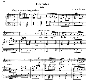 the smiling hours, a joyful train. aria for alto/countertenor. g.f.haendel:hercules, hwv 60. vocal score. schirmer anthology of sacred song: alto. (m. spicker). ed. schirmer
