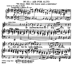 Then shall the eyes of the blind be opened.... He shall feed his flock like a shepherd. Recitative and Aria for Alto/Countertenor. G.F.Haendel: Messiah, HWV 56. Vocal Score, Ed. Schirmer  (Spicker-Noble). 1912 | eBooks | Sheet Music